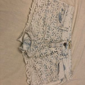 YMI light acid washed floral lacey jean shorts 11